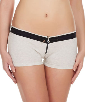 La Intimo Off White Women Zipper Drawstring Cotton Spandex BoyShort