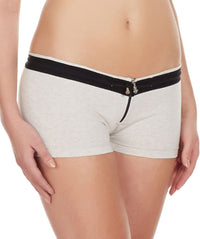 La Intimo Off White Women YKK Zip Cotton Spandex BoyShort