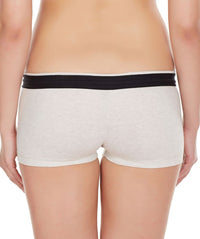 La Intimo Off White Women Zip Cotton Milange Spandex BoyShort