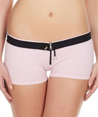 La Intimo Pink Women Zipper Drawstring Cotton Spandex BoyShort