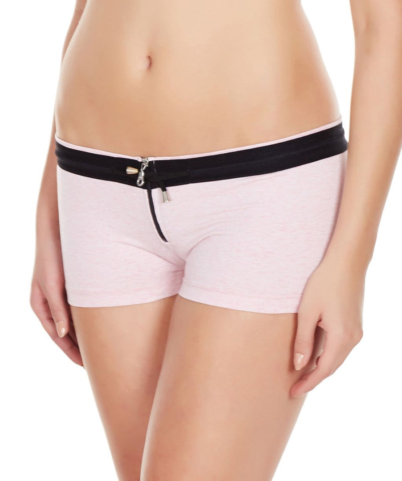 La Intimo Pink Women YKK Zip Cotton Spandex BoyShort