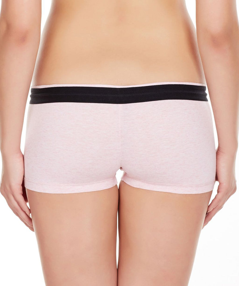 La Intimo Pink Women Zip Cotton Milange Spandex BoyShort