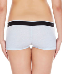 La Intimo Sky Blue Women Zip Cotton Milange Spandex BoyShort