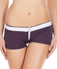 La Intimo Wine Women Zipper Drawstring Cotton Spandex BoyShort