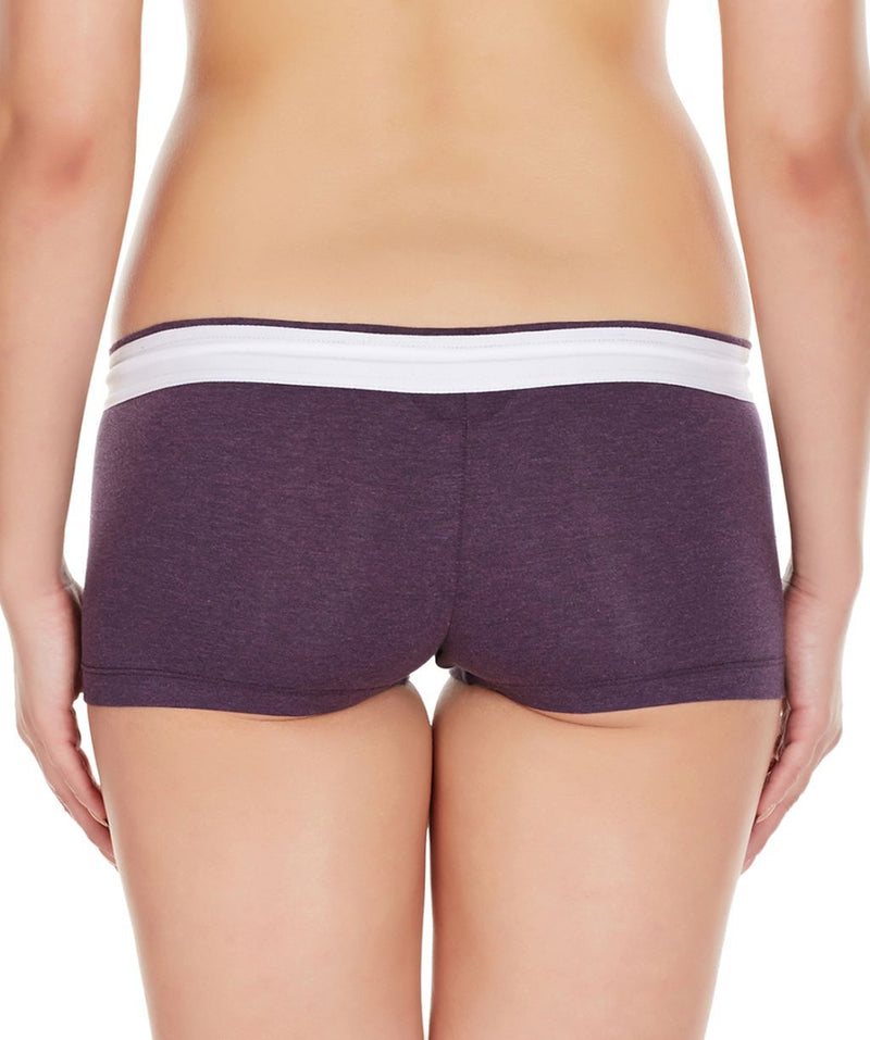 La Intimo Wine Women Zip Cotton Milange Spandex BoyShort
