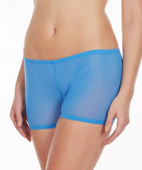La Intimo Blue Women Mesh Comfy Stretch Nylon Spandex BoyShort