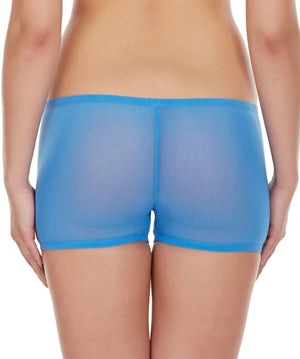La Intimo Blue Women Net See through Nylon Spandex BoyShort