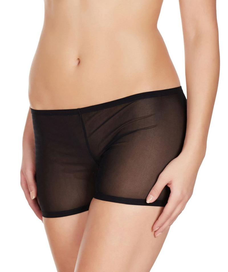 La Intimo Black Women Mesh Comfy Stretch Nylon Spandex BoyShort
