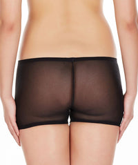 La Intimo Black Women Net See through Nylon Spandex BoyShort