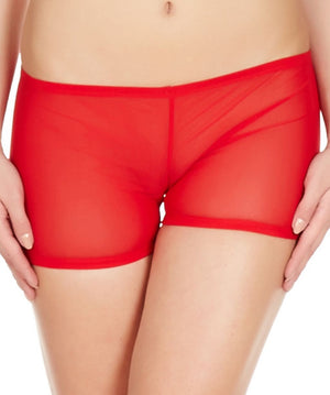 La Intimo Red Women Mesh Comfy Nylon Spandex BoyShort