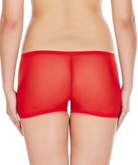 La Intimo Red Women Net See through Nylon Spandex BoyShort