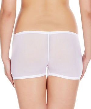 La Intimo White Women Net See through Nylon Spandex BoyShort
