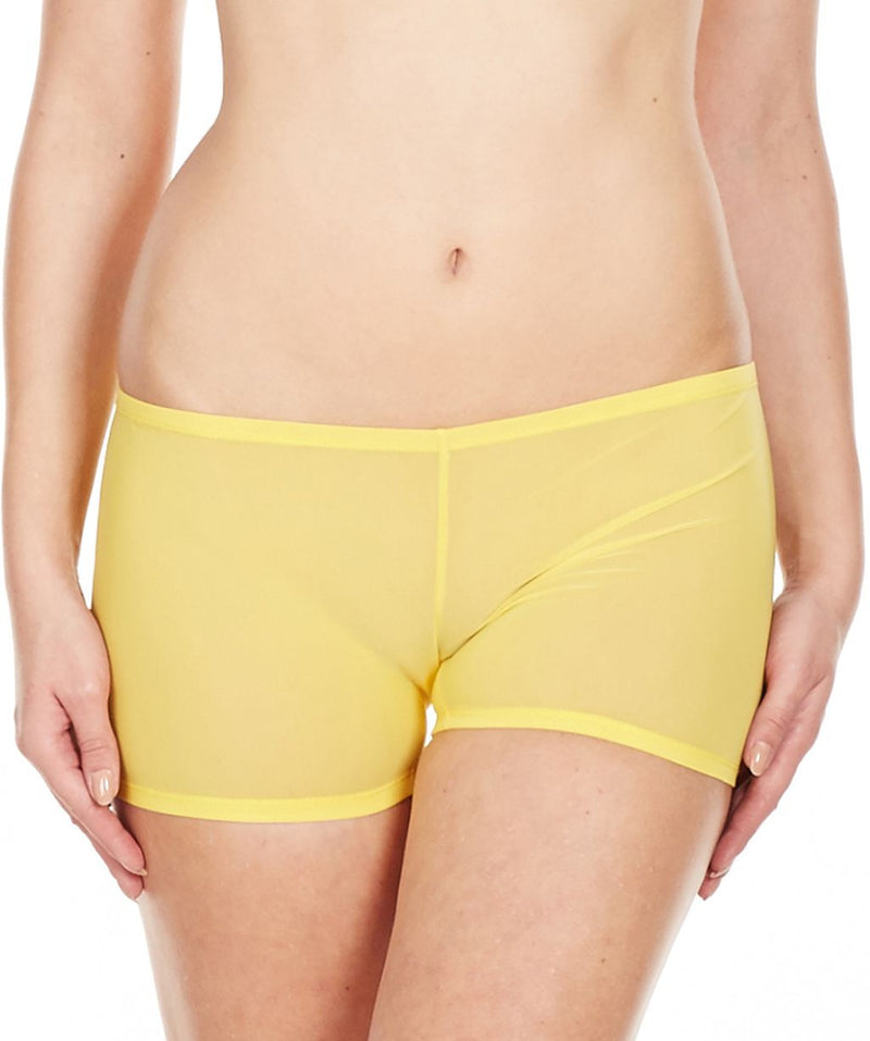 La Intimo Yellow Women Mesh Comfy Nylon Spandex BoyShort