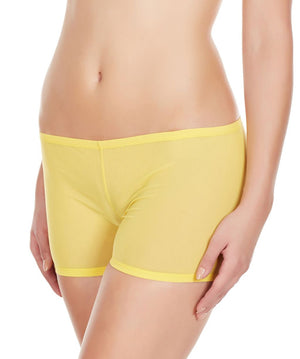 La Intimo Yellow Women Mesh Comfy Stretch Nylon Spandex BoyShort
