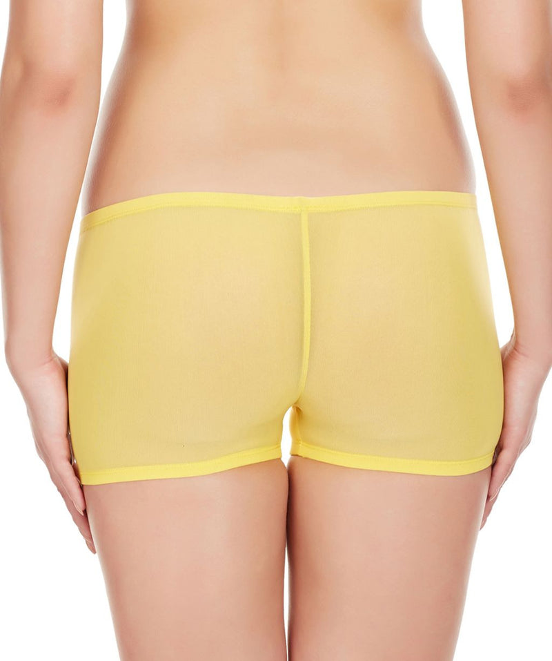 La Intimo Yellow Women Net See through Nylon Spandex BoyShort