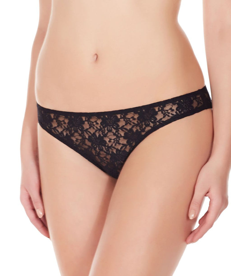 La Intimo Black Women Flower pattern Nylon Spandex Lace