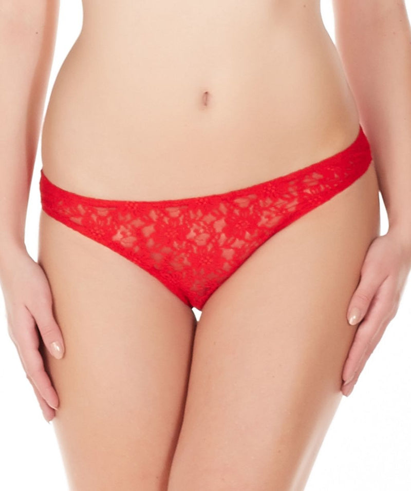 La Intimo Red Women Comfy Panty Nylon Spandex Lace