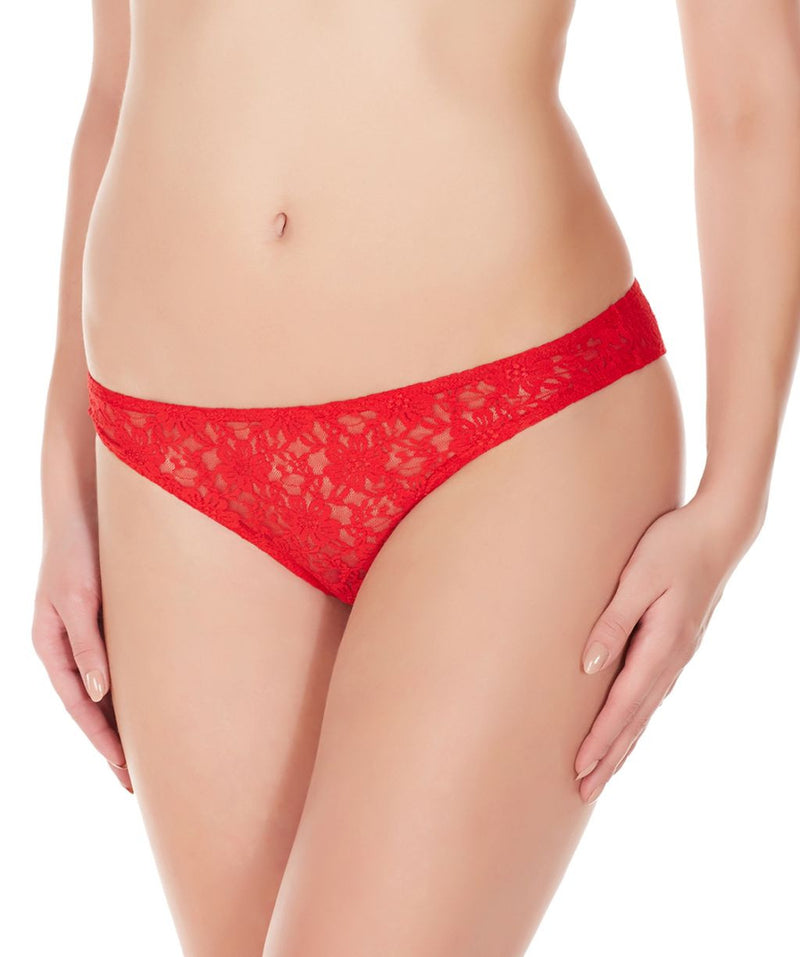 La Intimo Red Women Flower pattern Nylon Spandex Lace