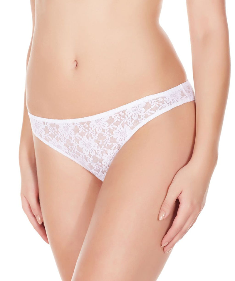 La Intimo White Women Flower pattern Nylon Spandex Lace