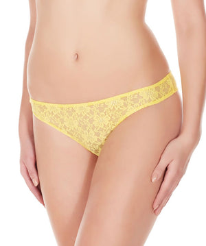 La Intimo Yellow Women Flower pattern Nylon Spandex Lace