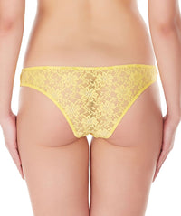 La Intimo Yellow Women Intimate Panty Nylon Spandex Lace