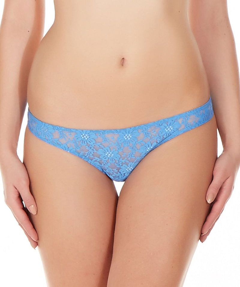 La Intimo Blue Women Comfy Thong Nylon Spandex Lace