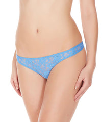 La Intimo Blue Women Flower pattern Nylon Spandex Lace Thong