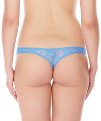 La Intimo Blue Women Intimate Thong Nylon Spandex Lace