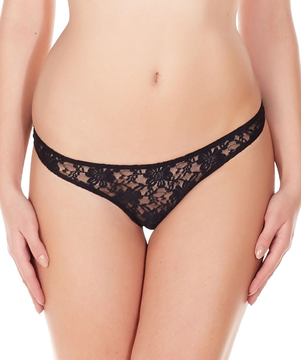 La Intimo Black Women Comfy Thong Nylon Spandex Lace