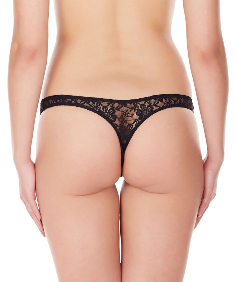 La Intimo Black Women Intimate Thong Nylon Spandex Lace
