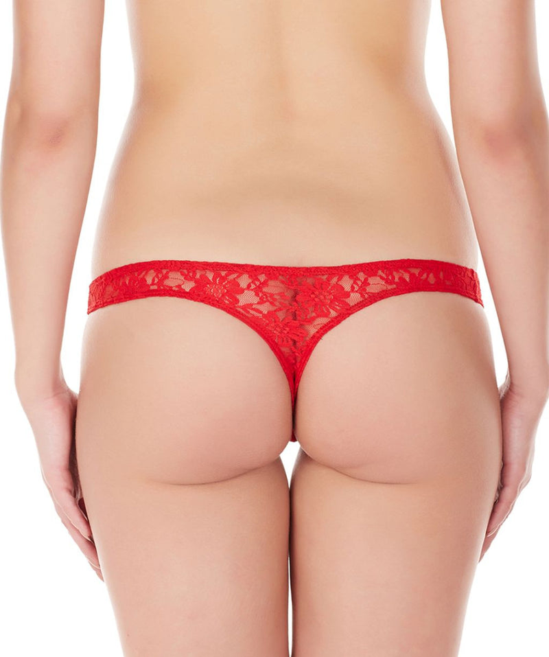 La Intimo Red Women Intimate Thong Nylon Spandex Lace