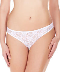 La Intimo White Women Comfy Thong Nylon Spandex Lace
