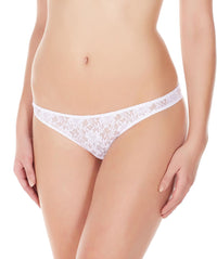 La Intimo White Women Flower pattern Nylon Spandex Lace Thong