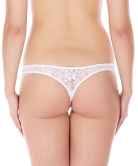 La Intimo White Women Intimate Thong Nylon Spandex Lace