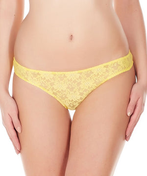 La Intimo Yellow Women Comfy Thong Nylon Spandex Lace