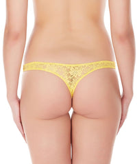 La Intimo Yellow Women Intimate Thong Nylon Spandex Lace