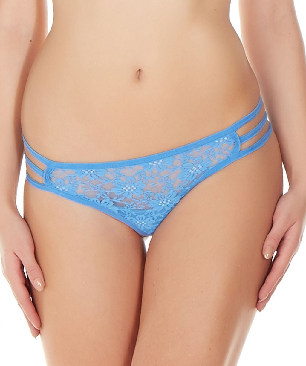 La Intimo Blue Women Triple Lace GString Nylon Spandex Lace