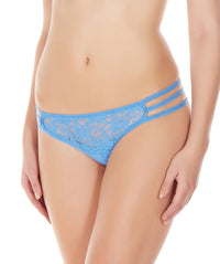 La Intimo Blue Women Flower pattern Nylon Spandex Lace GString