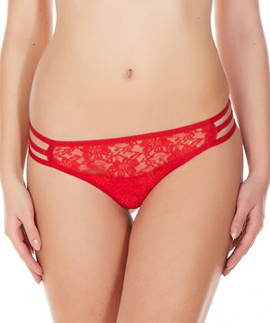 La Intimo Red Women Triple Lace GString Nylon Spandex Lace