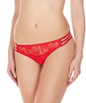 La Intimo Red Women Flower pattern Nylon Spandex Lace GString