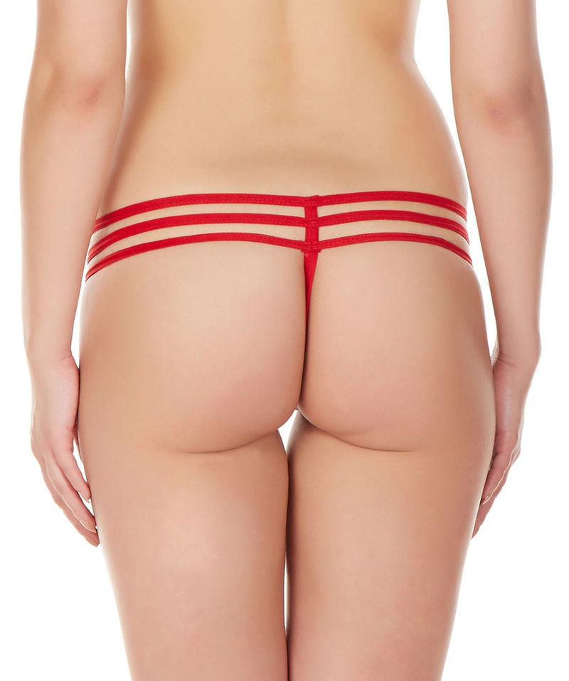 La Intimo Red Women Intimate GString Nylon Spandex Lace