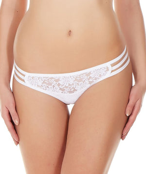 La Intimo White Women Triple Lace GString Nylon Spandex Lace
