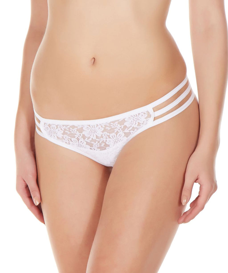 La Intimo White Women Flower pattern Nylon Spandex Lace GString