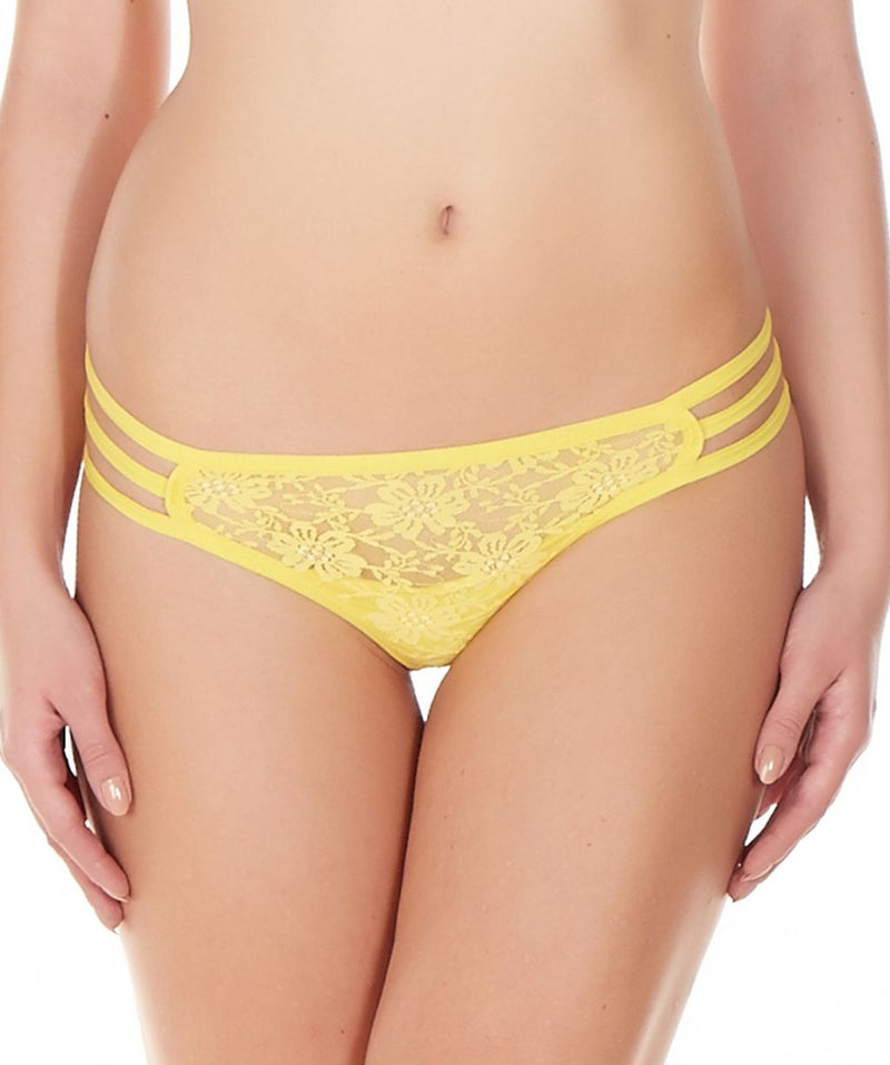 La Intimo Yellow Women Triple Lace GString Nylon Spandex Lace