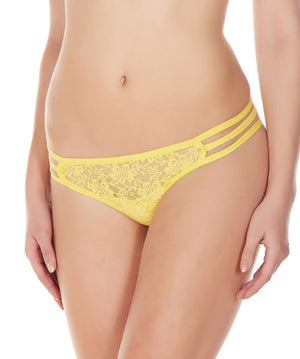 La Intimo Yellow Women Flower pattern Nylon Spandex Lace GString