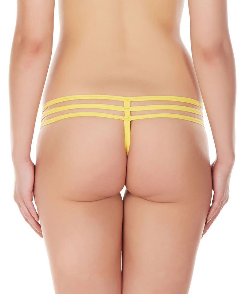 La Intimo Yellow Women Intimate GString Nylon Spandex Lace