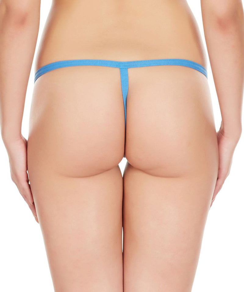 La Intimo Blue Women Intimate Adjustable Cotton Modal Spandex GString