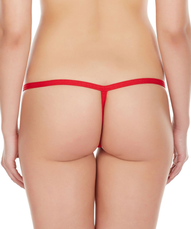 La Intimo Red Women Intimate Adjustable Cotton Modal Spandex GString