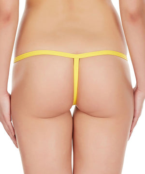 La Intimo Yellow Women Intimate Adjustable Cotton Modal Spandex GString