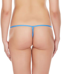 La Intimo Blue Women Intimate Polyester Spandex GString